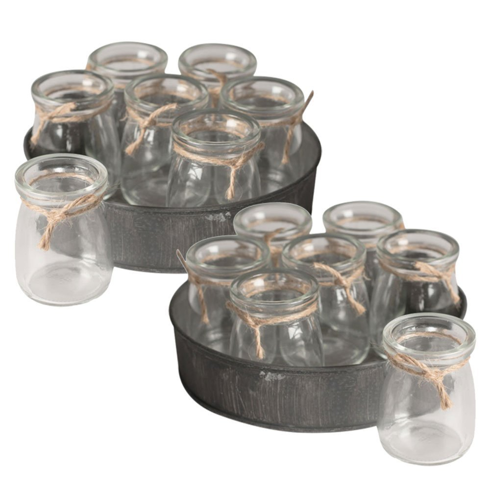 Round Metal Tray with Clear Glass Bottles, 7 inch, Vintage-Inspired Centerpiece, Country Chic Decoration, Rustic Wedding Decor, (Set of 2), (Grey)