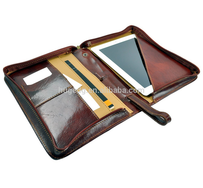Hot selling zip pu leather portfolio with hand strap