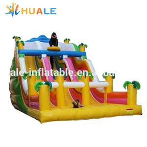 Most popular inflatable indoor kids air inflatable slide with triple slides