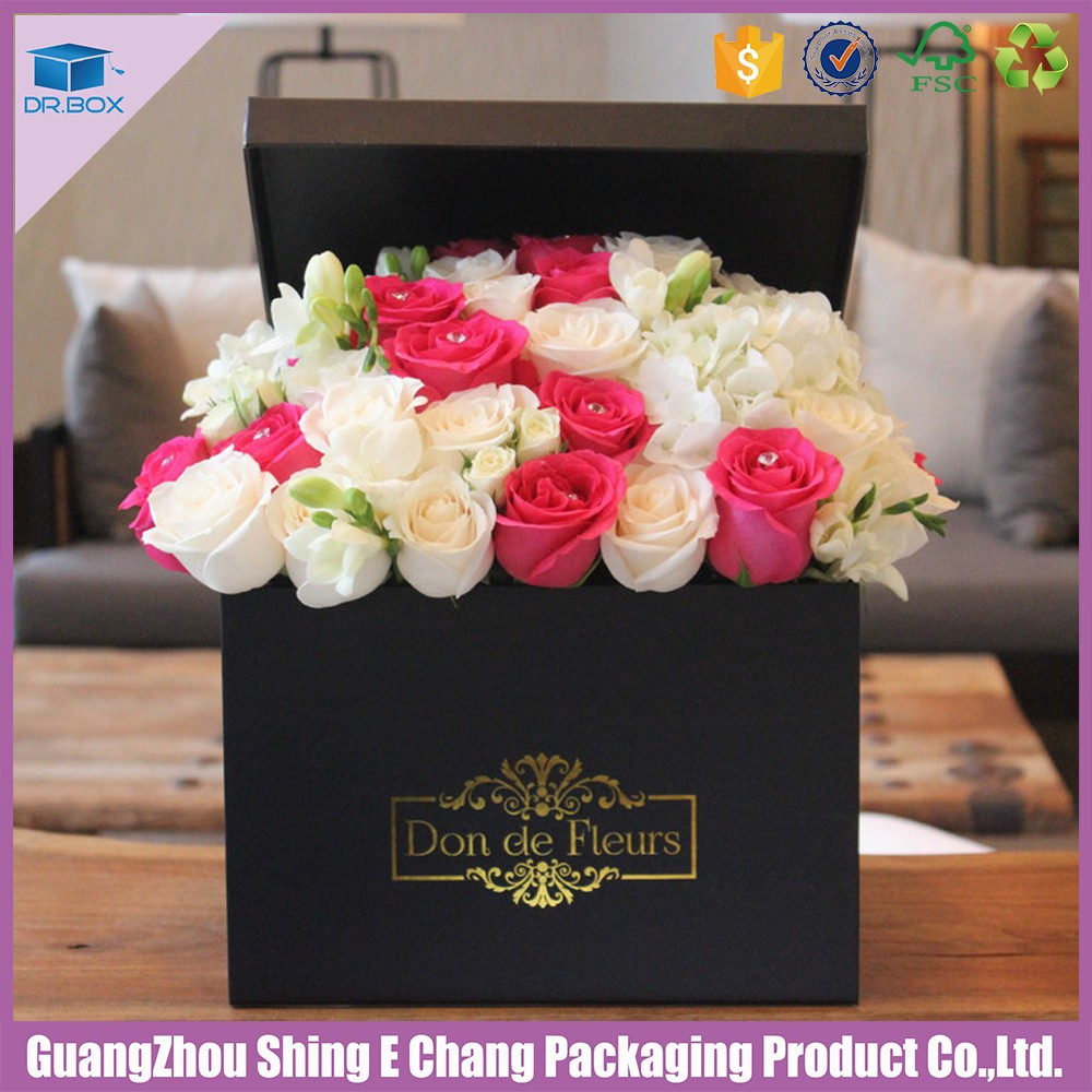 Wholesale Flower Black Boxes For Rose Packaging With Silk Ribbon