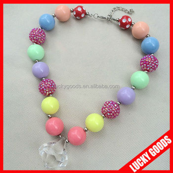 Hand made bubblegum chunky beads kids necklace for christmas with hand made bubblegum chunky beads kids necklace for christmas with crystal pendant mozeypictures Gallery