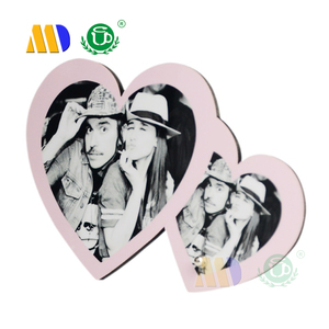 MIDA High quality Sublimation MDF frame Decoration double heart photo frame