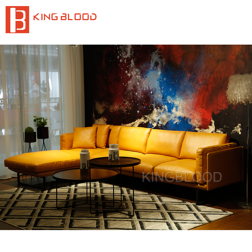 Latest Yellow color italy genuine Nappa leather L shape corner <strong>sofa</strong> design for living room