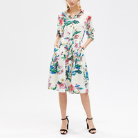 Stylish women long sleeve printed flower dress with sashes new model ladies comfortable career dress hot sales