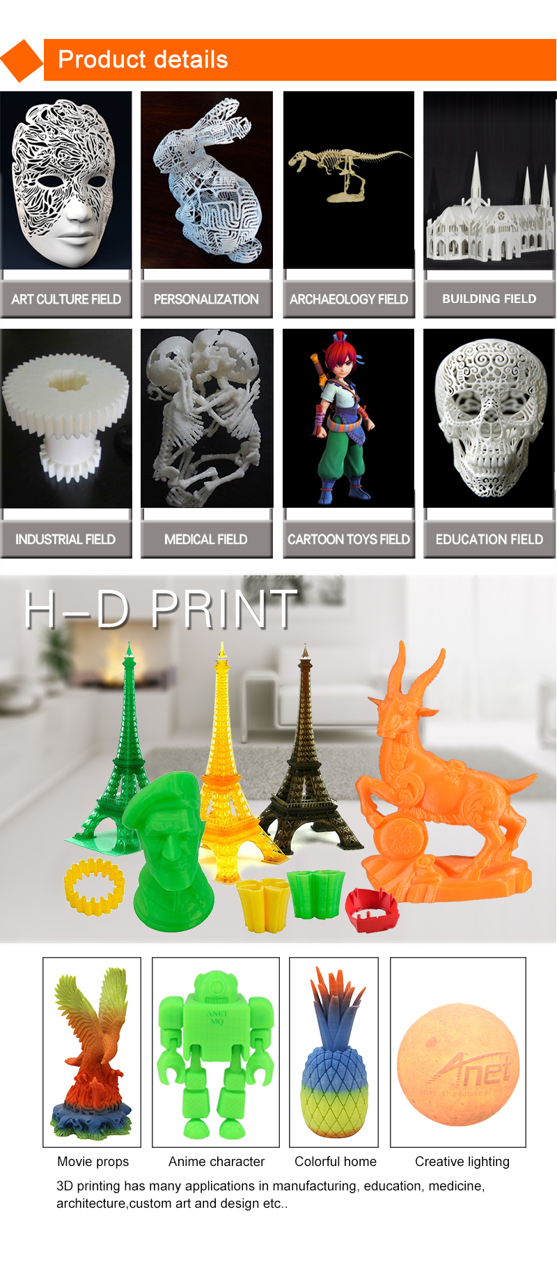 Chinese professional mini high precision anet 3d printer rapid prototyping for ABS PLA filaments