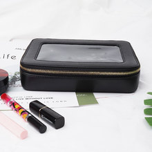 High end quality luxury Make Up Case Leather Travel Cosmetic Bag with PVC window