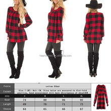 Long Sleeve Print Red Plaid Shirt Dress