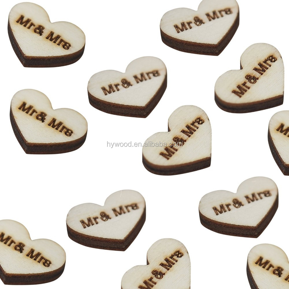 carving engraved pine vintage rustic table party wedding decoration Affair Mr. & Mrs. craft Wooden Heart wood hearts wholesale