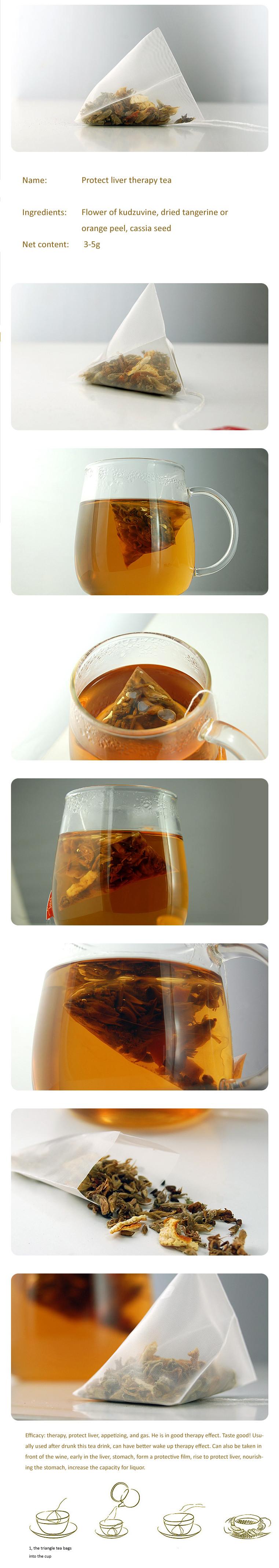 Proteger o fígado terapia chá Flor de kudzuvine tangerina secas ou casca de laranja sementes de cássia Pyramid saco de chá de Ervas de chá chá Triângulo CB4