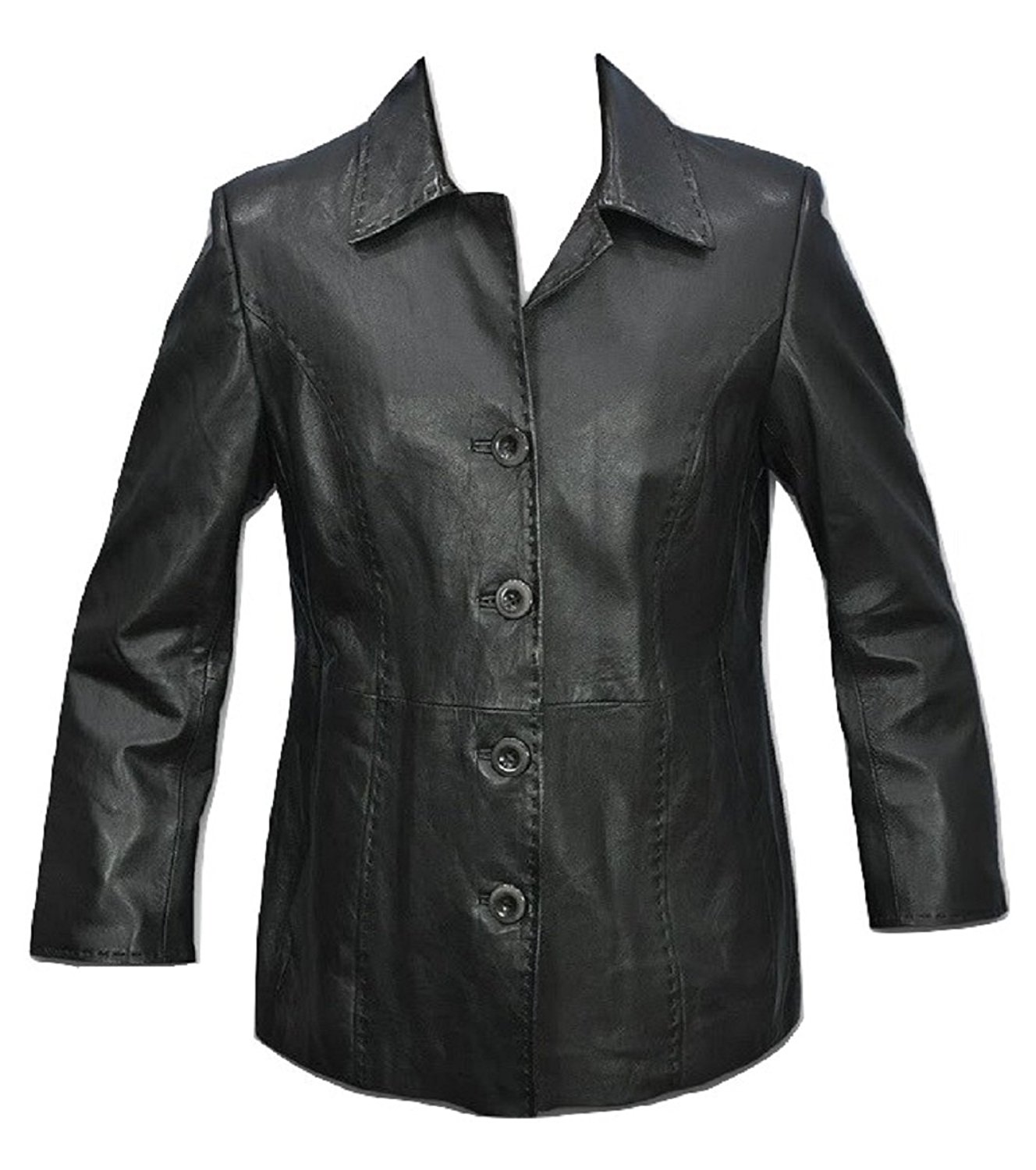 Bestzo Women's Fashion Jacket Lamb Leather Black XXL