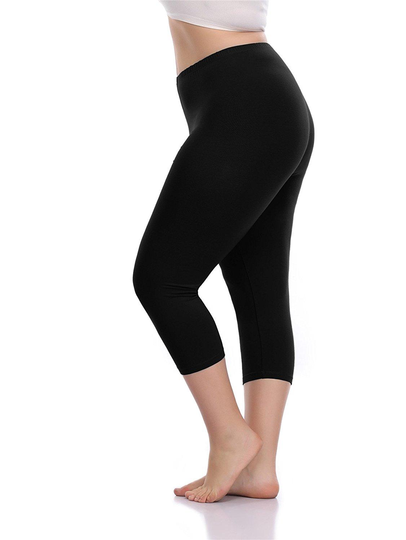 VOGUEMAX Women's Capri Leggings Plus Size Stretch Comfy High Waisted Three-Quarter Leggings Plus