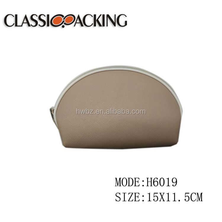 Fashion design PU leather waterproof gray promotional cosmetic bag