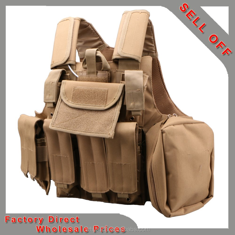 100% POLY-MESH Khaki Military multifuctional tactical vest