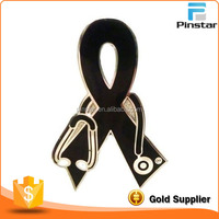Melanoma Awareness Black Ribbon Stethoscope Nurse Doctor Vet Lapel Pin New