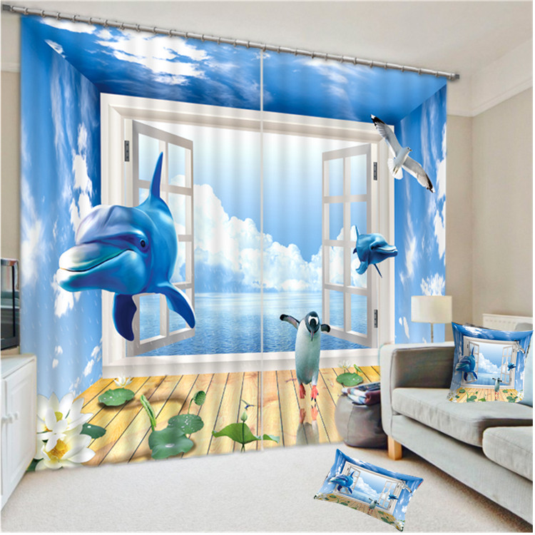 Luxury Colorful Custom 3D Printed 100% Polyester Decorative Tablecloth , Sun Shade Shower Window Curtain With Aniaml Series