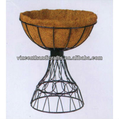 Country wire coco flower pot with stand for home and garden decor