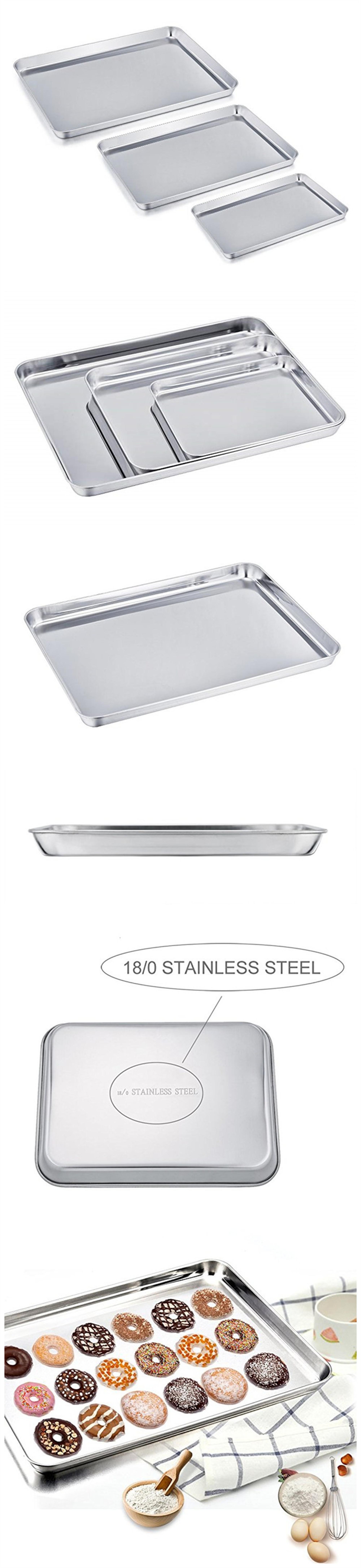 Stainless Steel Adjustable Shallow Bread Cookie Baking Sheet Pan Set
