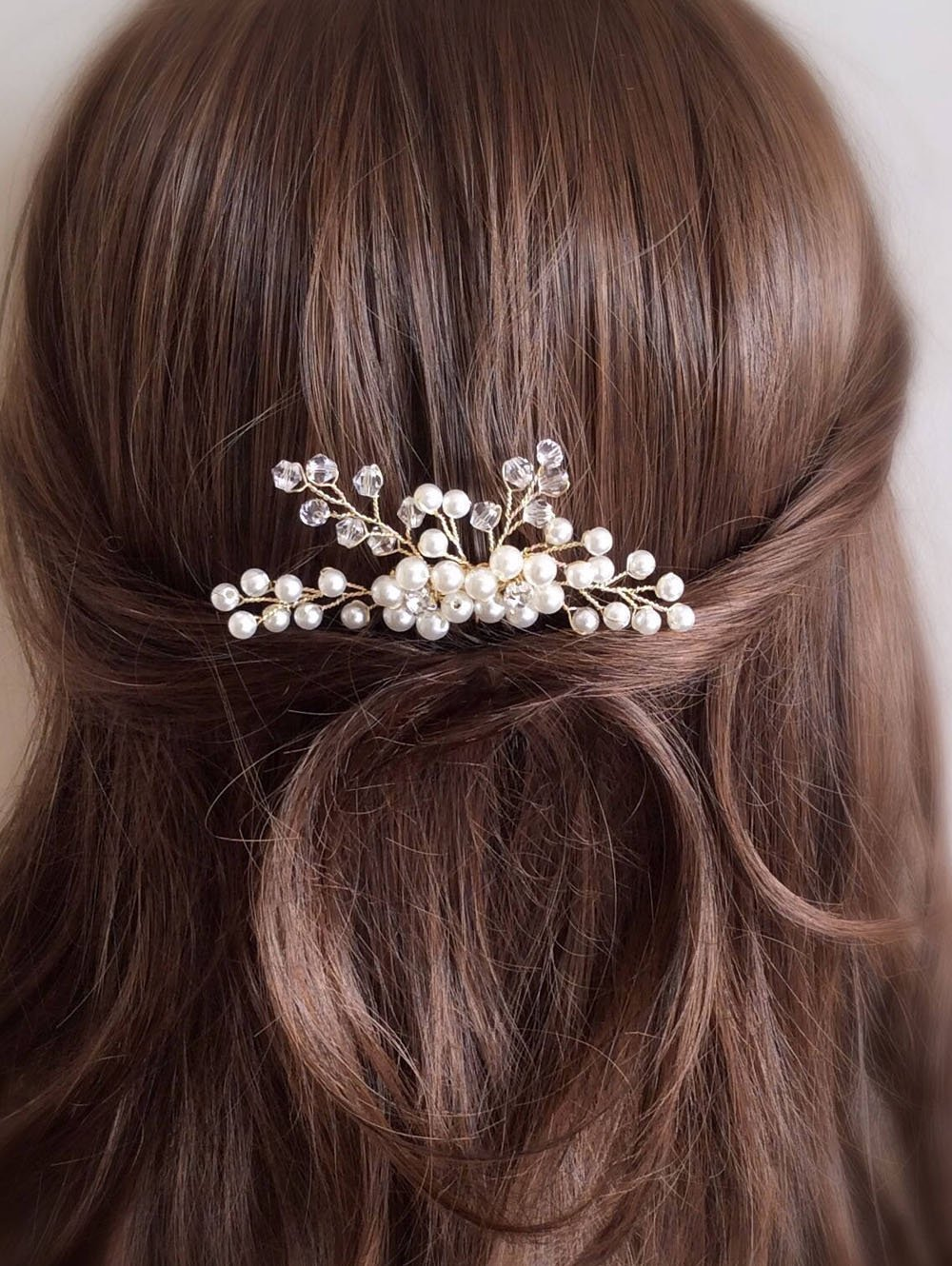 Kercisbeauty Crystal Pearl Beads Wedding Decorative Combs Bridal Hair Comb Headpiece For Bridal Bridesmaid or Flower Girl Wedding Hair Piece Vintage Hair Comb Flower Hair Piece Hair Jewelry Bridal Ha