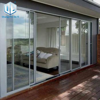 Aluminum Commercial Frosted Glass Sliding Doors Aluminum Frameless