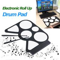 Cheap entry-level kids Portable USB PC Desktop Electronic Roll Up Drum Pad Kit Set Drum