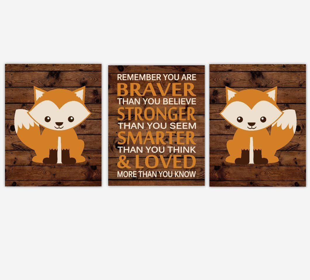 Get Quotations Baby Boy Nursery Wall Art Fox Woodland Forest Zoo Animals Orange Brown Beige Rustic You Are