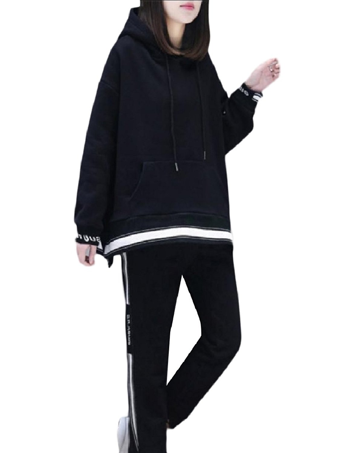Zimaes-Women Pullover All-Match Hooded Relaxed Funky 2-Piece Tracksuit