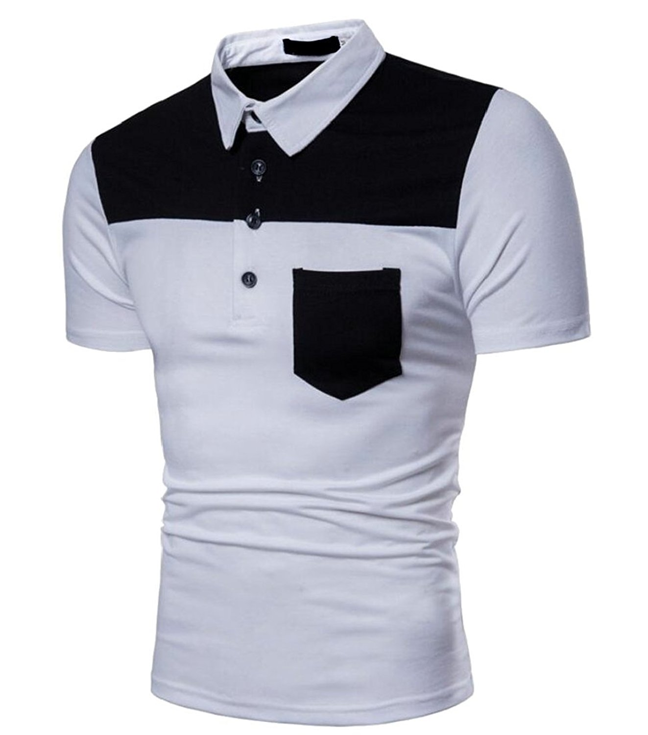 Qiangjinjiu Mens Lapel Short Sleeve Splice Contrast Color Summer Polo Shirts