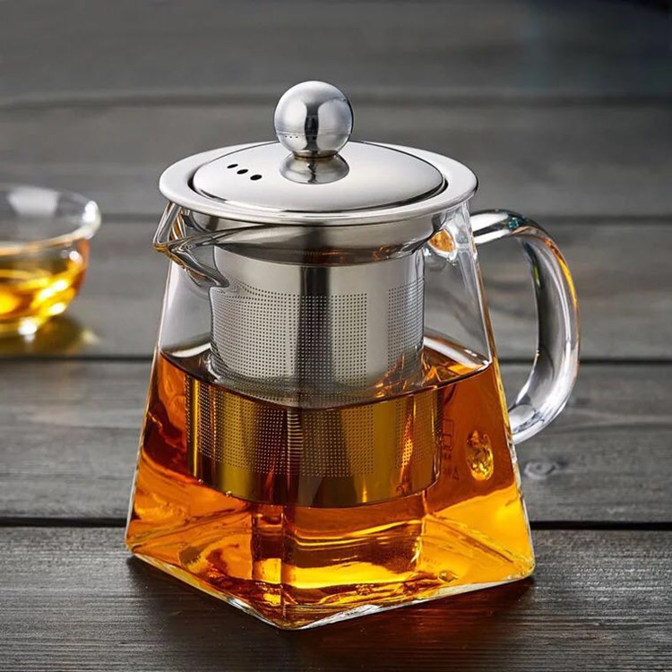 Classic Clear Blooming Glass Tea Pot With Stainless Steel Strainer & Lid