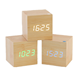 Fashionable home decor square LED digital wooden clock with multi-color words_JE243