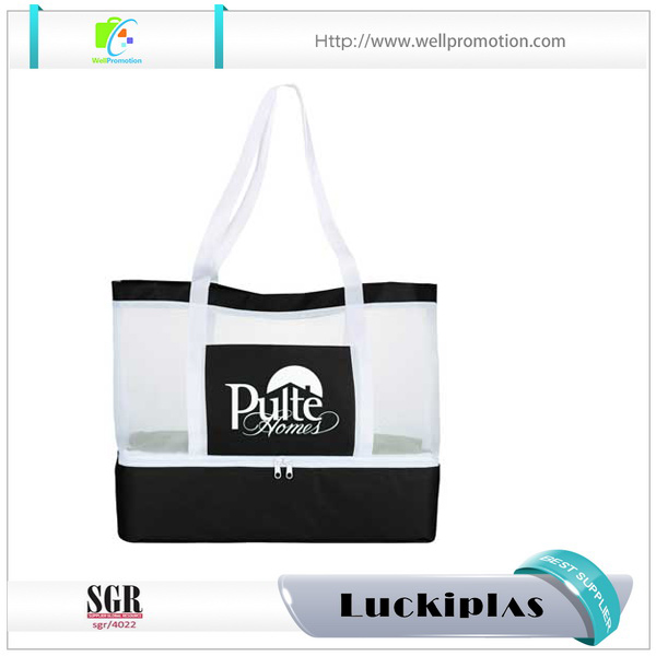 White and black personalized mesh beach towel bag with bottom cooler