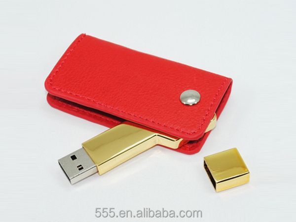 Key shape Metal USB with leather cover keychain usb flash drive