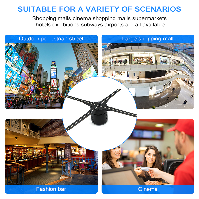 3D Hologram Reclame Display LED Holografische Projector Roterende Holograma Fan Outdoor 100 cm Wifi