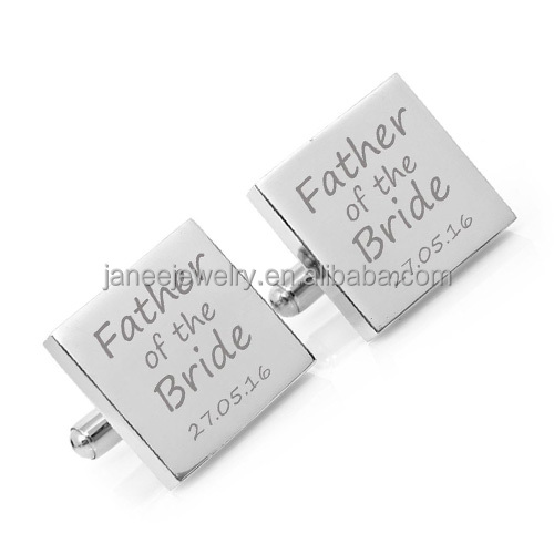 Wholesale Mens Accessories Stainless Steel Custom Engraved Father of The Bride Wedding Cufflinks