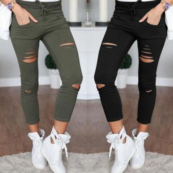 Coldker Pantalones Con Agujeros Para Mujer Mallas Rasgadas Ajustados Elasticos Con Cordon Verde Militar Buy Leggings Vaqueros Pantalones Mujer Pantalones Slim Product On Alibaba Com