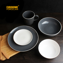 wholesale hotel restaurant wedding home custom black colorful color cheap bone china crockery ceramic porcelain dinnerware set