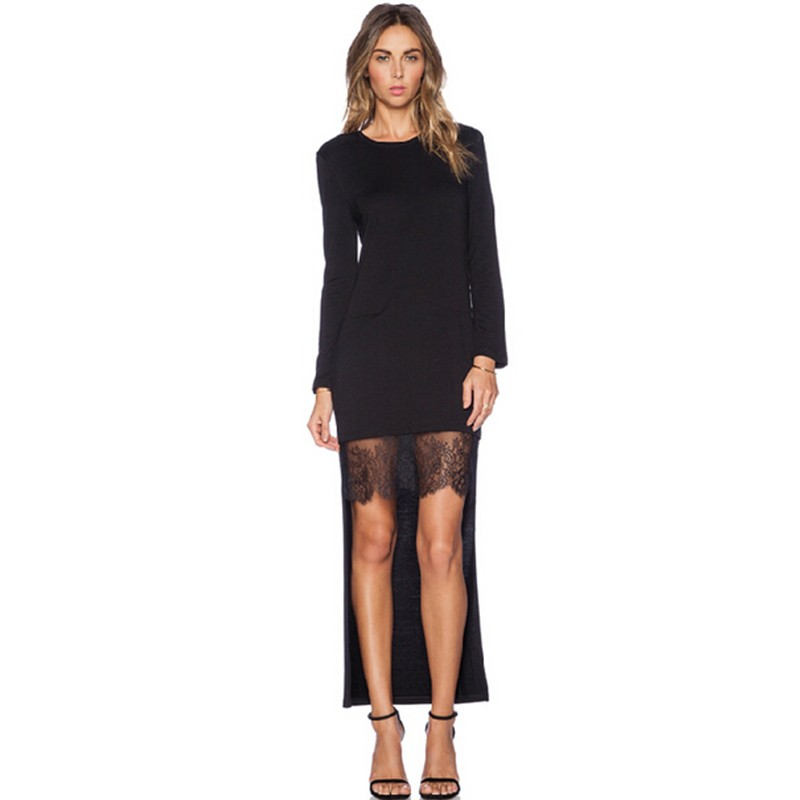 Lace Patchwork Asymmetrical Dress desigual  Fashion Women O-neck Long Sleeve Elegant Black Dress vestido  (1)