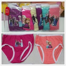 HOT SALE Retail 6Pcs/lot Frozen Anna Elsa Cartoon Underwear Girls Cute Brief Children Cotton Panties Mixed Color Free Shipping
