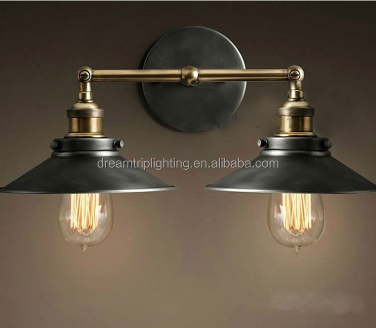 Factory direct selling American creative personality bedroom bedside wall lamp retro double headed decorative lighting lamps