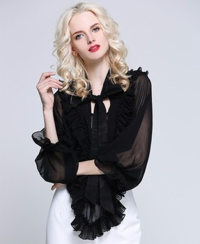 Women Chiffon Ruffles Office Shirts, Ladies Butterfly Sleeves Korean Fashion Clothes