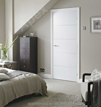 Beautiful Solid Wood Veeneer Door /Laminated Glossy White Oak Finished Contemporary Interior  Door Wood Door Design