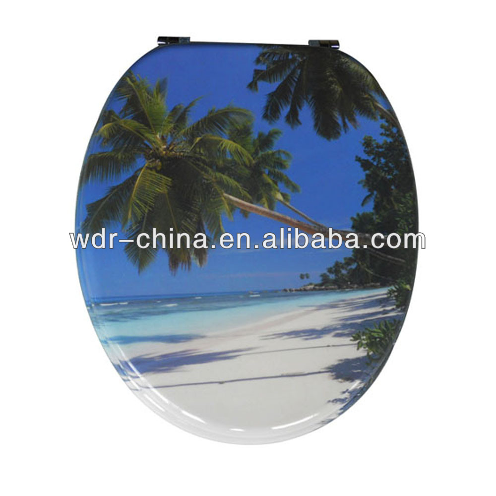 Decorated color wc poly resin sea shell toilet seat cover