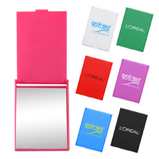 Giveaway own logo printed ABS plastic cheap rectangle compact pocket swivel design multi-function nail file compact mirror