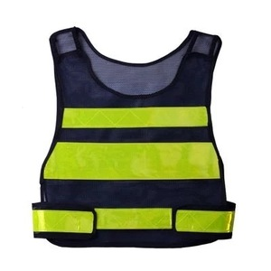 black safety vest For worker high visibility comfortable safety vest good best price outdoor with pockets