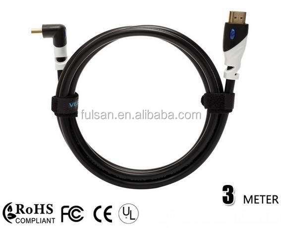 Gold Plated HDMI Cable male to male 90 degree 3M 10FT
