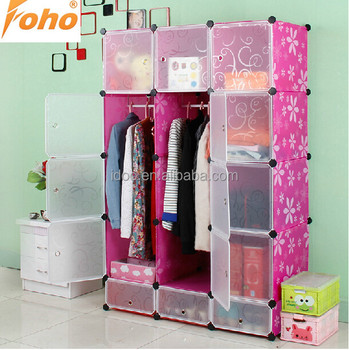 Large Capacity Assemble Plastic Portable Wardrobe Closet Storage Cabinet  Ith Flexible Cubes (FH AL0742
