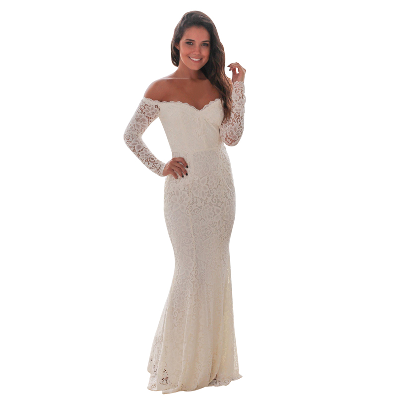 Fashion White Off Shoulder Maxi Evening Bridesmaid Wedding Dress