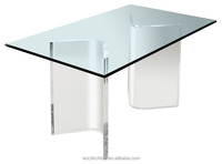 Custom made acrylic dining table base,clear lucite/perspex acrylic kitchen dining table base