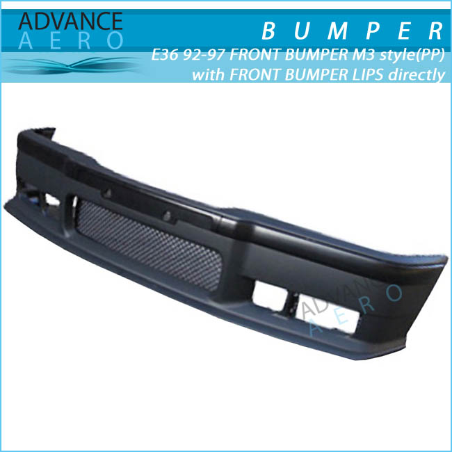 FOR 1992-1998 BMW E36 3-SERIES M3 STYLE PP POLYPROPYLENE FRONT BUMPER W/ LIP