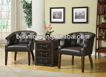 American style living room chair,leather and solid wood ...