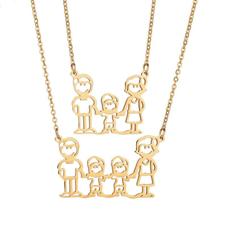 Yiwu jewelry factory family members mom girls boys pendant chain gold necklace trend necklace stainless steel 316, As picture show